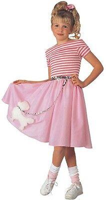Girls Poodle Skirt Costume 50s Fancy Dress Pink Halloween Purim Child Kids NEW - 50 S Costumes
