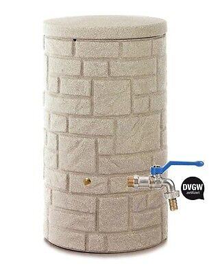 3P Regentonne Arcado sandstein 230 L inkl. Wasserhahn Regenspeicher  PE REWATEC