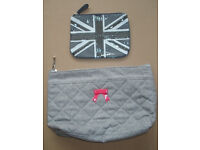 Gatineau Grey Quilted Fabric Cosmetic/Toiletry Bag + Grey Make-up Bag