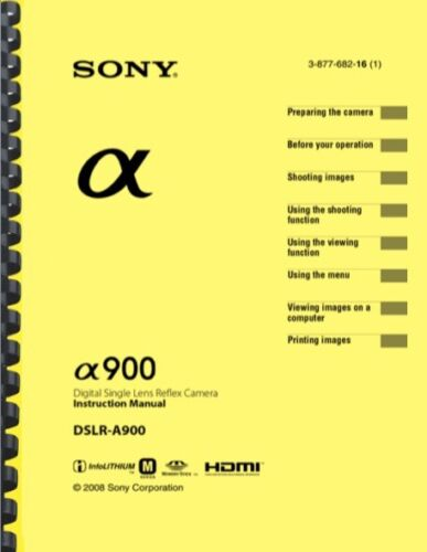 Sony Alpha A900 OWNER