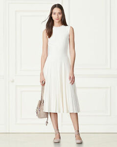 RALPH LAUREN CLARA PLATED DRESS CREAM COLOR AT $400!!!