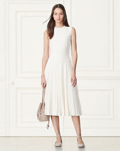 RALPH LAUREN CLARA PLATED DRESS CREAM COLOR AT $450!!!!