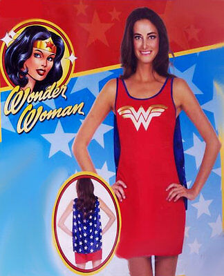 Rubies Womens WONDER WOMAN Sexy Easy Halloween Costume Dress Cape Small 4 6 NEW](Easy Marvel Costume)