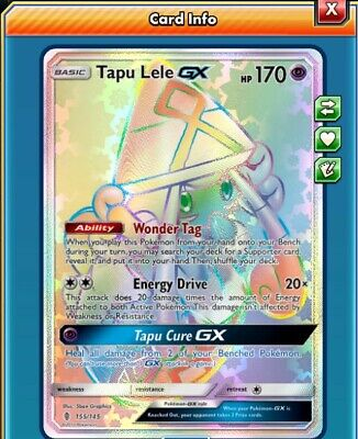 Tapu Lele GX Rainbow Hyper Rare Pokemon PTCGO Virtual Card 155/145 Guardians Ris