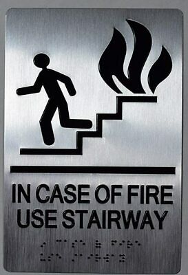 In Case Of Fire Use Stairs Sign Silversize 6x9 Double Sided Tape-ref0420