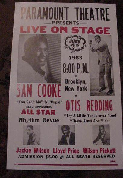 SAM COOKE OTIS REDDING 60s CONCERT POSTER BROOKLYN NYC 1963 art New York city