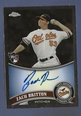 2011 Topps Chrome Zach Britton Auto Rookie Baltimore Orioles New York Yankees