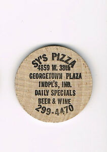 Vintage-Wooden-Nickel-Sys-Pizza-Georgetown-Plaza-Indianapolois-IN-Beer-Wine