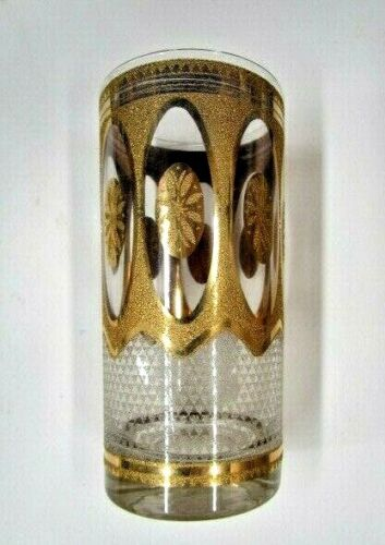 "4 Vintage 1960s GOLD design STUNNING drinking Glasses 5.75"" tall"
