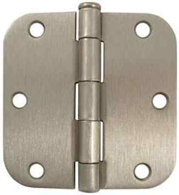 "3.5"" x 3 1/2"" Satin Brushed Nickel Hinge with 5/8"" radius corner screws included"