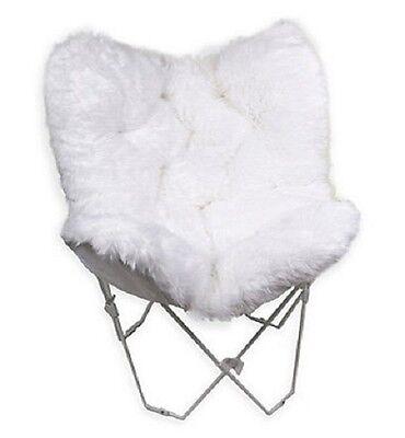 Butterfly Chair Faux Fur Fake For Girl Teen Dorm Room Furniture White Boho Decor