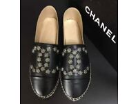 Chanel Espadrilles Flat Shoes 👠 💦 leather jewelled