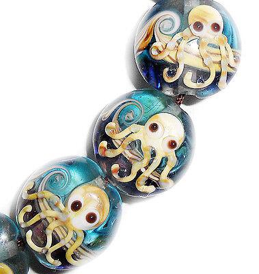Handmade Lampwork Glass Beads Octopus Blue Color 19 mm Lentil Shape 4 Beads #a56 - Lampwork Glass Beads