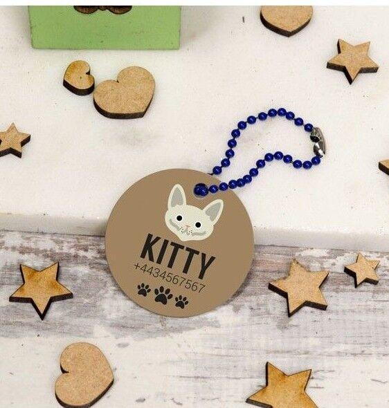 Personalised Pet Tags ID Collar Dog Cat 25mm Paw Print Custo