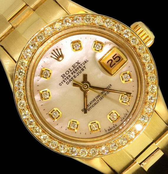 $4988.00 - Rolex Ladies Datejust President Oyster 18K Gold Diamond Dial Bezel Watch