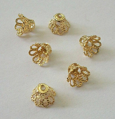 Gold plated over brass Filigree Basket Beads Caps 7mm -- 100 pieces