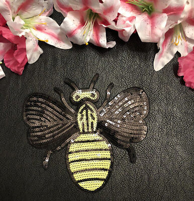 Black Yellow Bumble Bee -  Large Sequin Black Yellow Bumble Bee Embroidered Iron On Patch DIY
