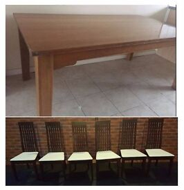 Large Solid Oak Dining Table (180cm) & 6 Calligaris Chairs FREE DELIVERY (03944)