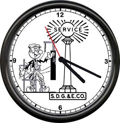 Reddy Kilowatt Electrician SDG&E San Diego Gas & Electric Co. Sign Wall Clock