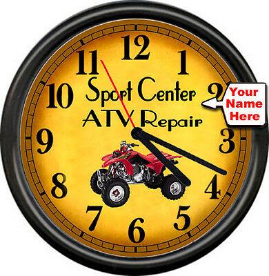 Personalized Atv Motorcycle Sports Racing Repair Mechanic Shop Sign Wall Clock