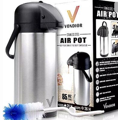 Thermal Coffee Airpot - Beverage Dispenser 85oz. By Vondior - Stainless Steel