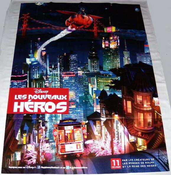 "Big hero 6 a disney sci-fi animation robots large french poster teaser ""night"""