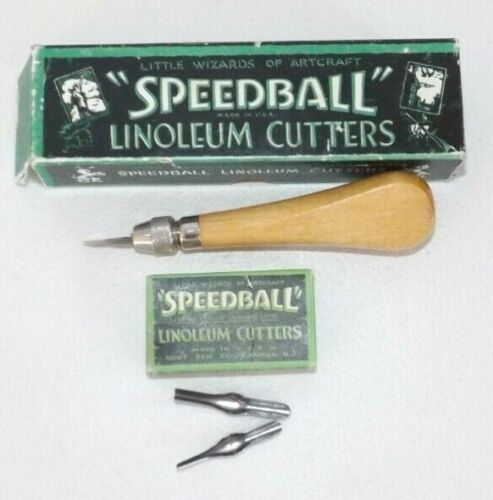 Vintage Speedball Linoleum E-Z Loading Handle Cutter w Orig Box & Blades USA