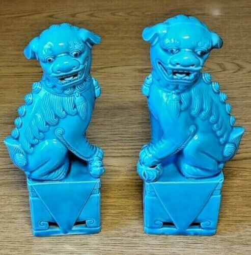 """Foo Fu Dogs  Turquoise Blue  Ceramic  8""""  Vintage Chinese Statues  Pair"""