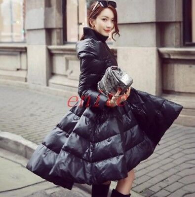 Womens A Line Dress Down Parka Slim Fit Puffer Jacket Stand Collar Coat Overcoat