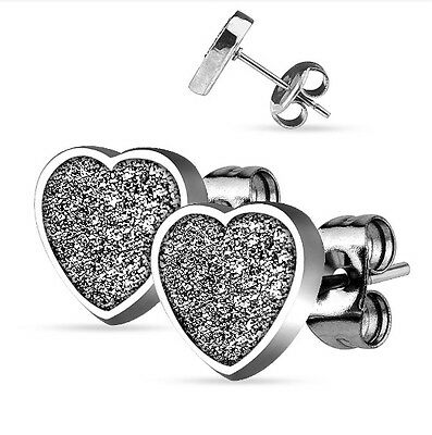 (Large GLITTER Heart Stud Earrings - Hypoallergenic Surgical Steel - GIFT BOXED)