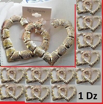 "3.25"" W Size 1Dz Lot of 12 Bamboo HEART Design Wholesale Earrings GOLD Tone"