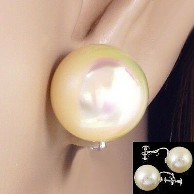 - #C100 CLIP ON SCREWBACK BIG 16MM FAUX IRIDESCENT PEARL BALL COMFY EARRINGS NEW