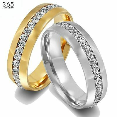 Men's/Women's White Gold / Yellow Gold, 18 Carat Crystal Diamante Wedding (Mens 18 Carat White Gold Wedding Rings)