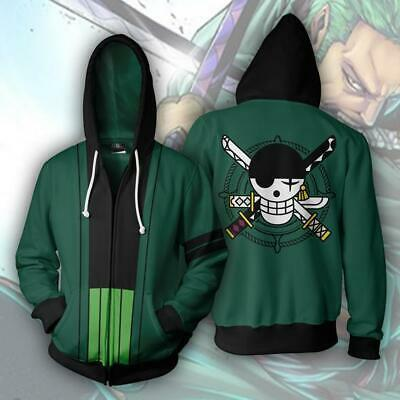 Anime One Piece Roronoa Zoro Reißverschluss Hoodie Sweatshirt Unisex Coat Jacket Unisex One Piece
