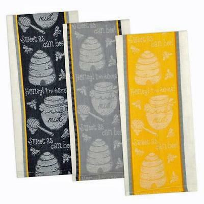 3 Piece Set Design Imports HONEY BEE Jacquard Weave Cotton Kitchen Tea Towels - Jacquard Tea Towels