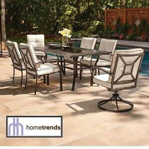 NEW* HOMETRENDS 7 PC PATIO SET 2 SWIVEL CHAIRS, 4 CHAIRS TABLE - OUTDOOR FURNITURE BACKYARD DECOR DINING SETS 109188060