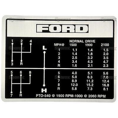 Ford Tractor Shift Pattern Decal 8-speed 5000 5600 6600 6700 7000 7600 7700