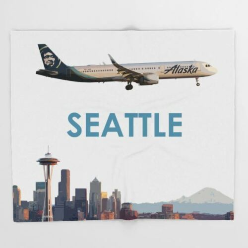 """Alaska Airlines Airbus A321 NEO over Seattle Art - Throw Blanket (51"""" x 60"""")"""