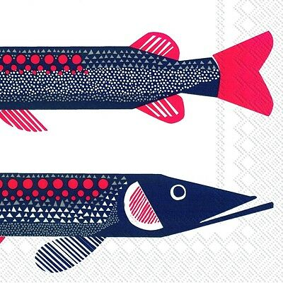 Marimekko HAUKI FISH paper lunch napkins new 20 in pack 33 cm sq