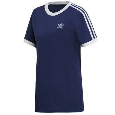 Adidas Originals 3 Stripe Womens T-Shirt Casual Summer Tee Navy DV2592