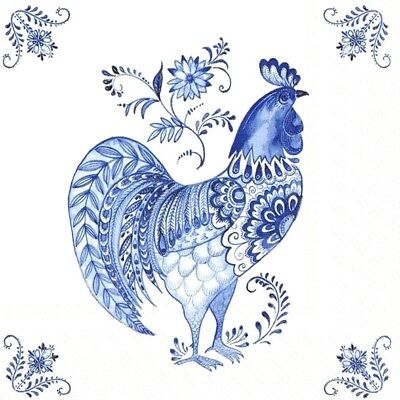 4 Lunch Paper Napkins for Decoupage Party Table Craft Vintage  Blue Rooster