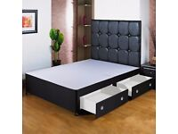 NEW- 4ft,4ft6 DOUBLE or 5ft KING divan bed base. 4 colours! storage,headboard and mattress optional