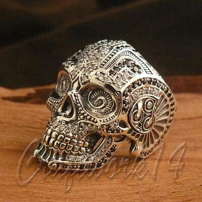 UNIQUE 925 Sterling Silver Skull Head HandMade Ring Biker Punk Gothic Jewelry