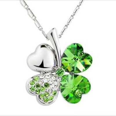 - FASHION AUSTRIAN ELEMENTS CRYSTAL CLOVE LOVE HEART PENDANT NECKLACE