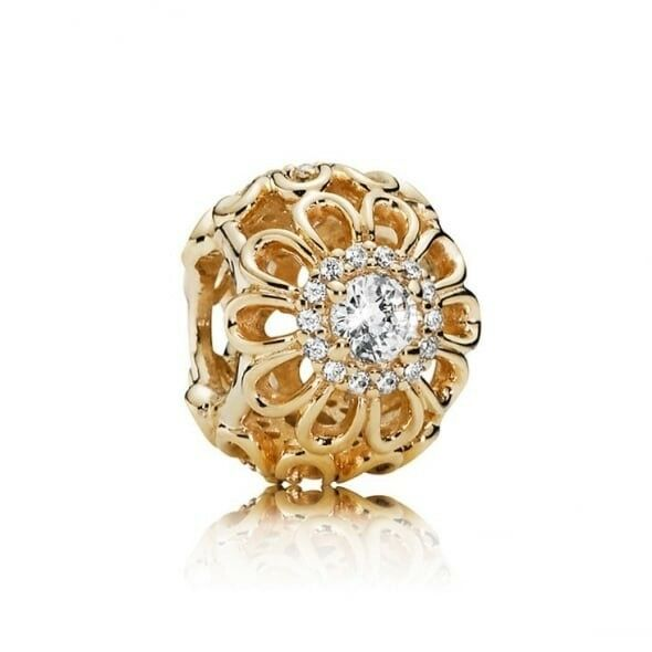 New Pandora 14ct Gold Floral Brilliance Openwork Charm 750836CZ​​​​​​​