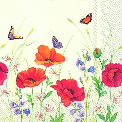 SUMMER MEADOW poppies butterflies paper table napkins luxury 20 pack 33 cm sq