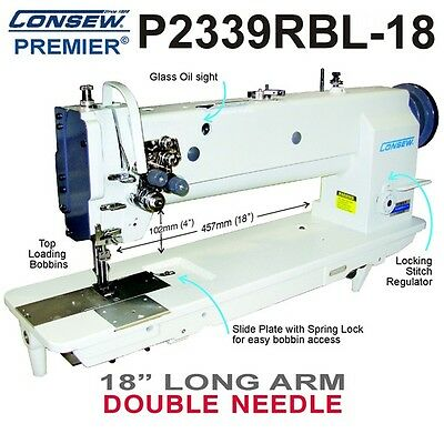 Consew P2339rbl-18 Double Needle 18 Long Arm Walking Foot Wkd Stand And Servo