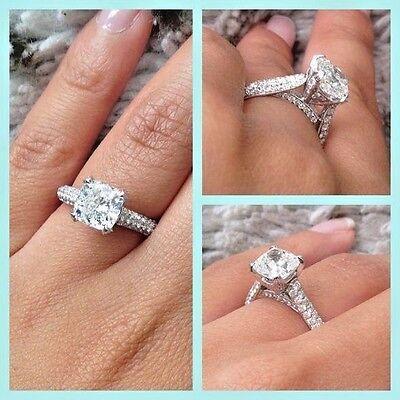 3.60 Ct Cushion Excellent Cut Diamond  Engagement Ring Pave E,SI1 GIA Platinum