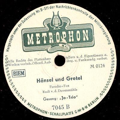 """PARODIE AUF """"HÄNSEL & GRETEL""""!!  Jo-Trio  / So viel Schwung   Schellack   S9175"""