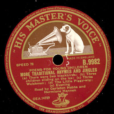 POEMS FOR YOUNG CHILDREN More Traditional Rhymes and Jingles  78rpm  S8726